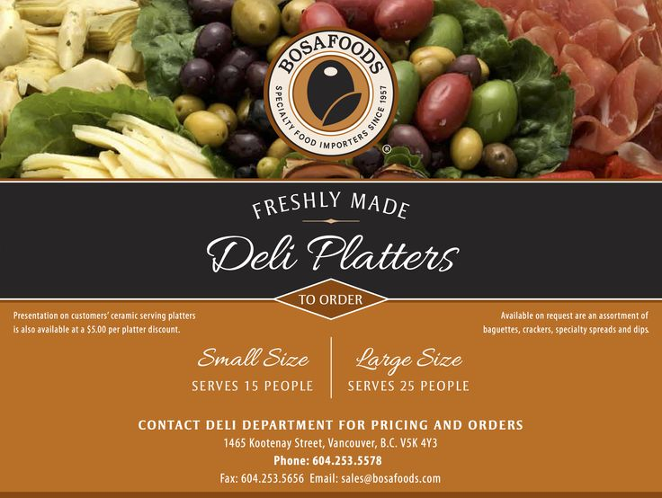 Big party or picnic coming up?  Just order a delicious BOSA Foods Deli Platter! #bosafoods