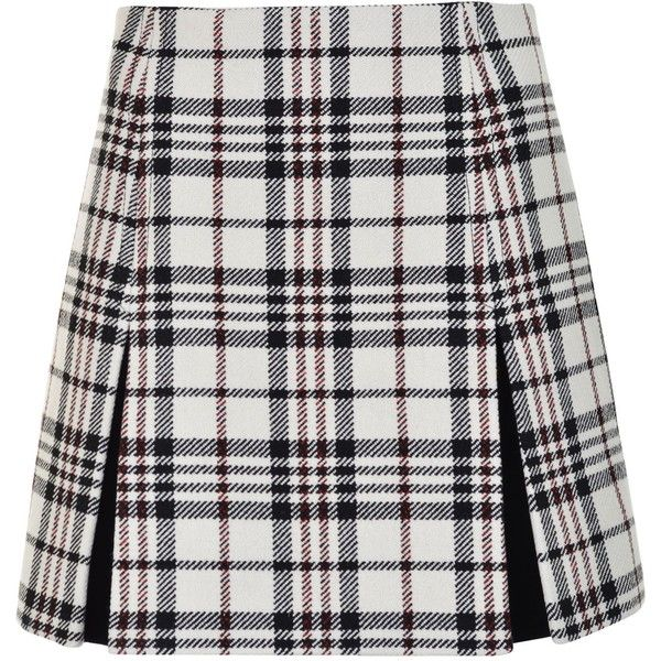 CARVEN Wool Check Skirt (220 AUD) ❤ liked on Polyvore featuring skirts, mini skirts, bottoms, saias, red pattern, short a line skirt, wool skirt, print skirt, wool mini skirt and red high waisted skirt