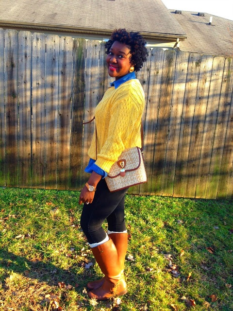 Chioma's Evolution of Style  (chambray shirt, yellow sweater, black jeggings, boot socks, camel riding boots)