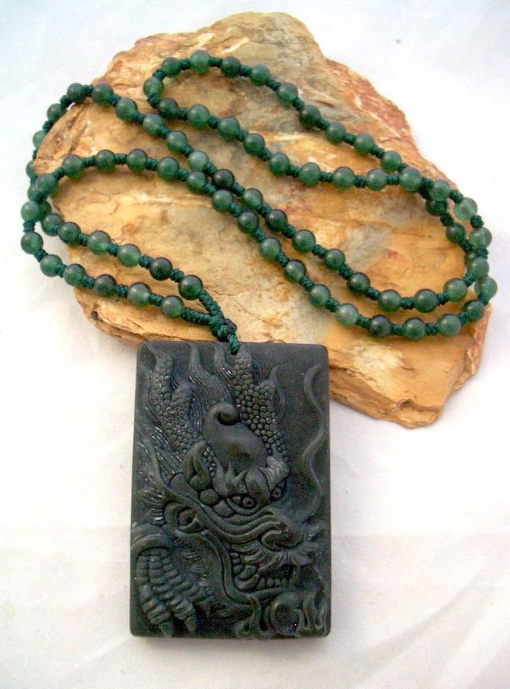 Natural Dark Green Carved JADE DRAGON Pendant on Genuine Green Agate 77 Beads, Powerful and Good Omen Necklace! by AmeogemJewellery on Etsy