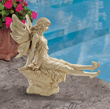 Dipping her toes into your pond, pool or leafy flowerbed, our angelic garden fairy statue is a beautifully detailed Design