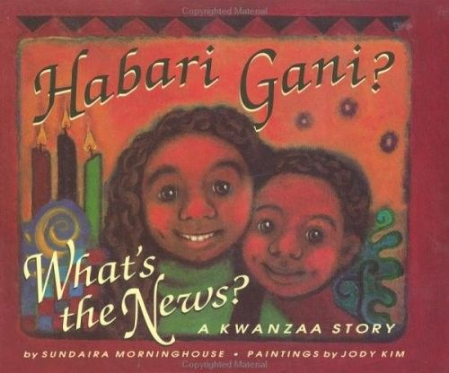 Habari Gani? What's the News? -- This book presents Kwanzaa celebrations in the words of seven-year-old Kia, as she describes her family's preparations of African traditions for the Kwanzaa holiday. Charming illustrations accompany the descriptions of each day of the holiday and show how the seven principles of Kwanzaa emerge in Kia's community.