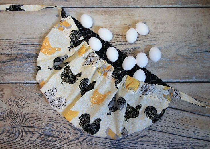 This one of a kind Egg Gathering Apron has a double stitched elastic ...