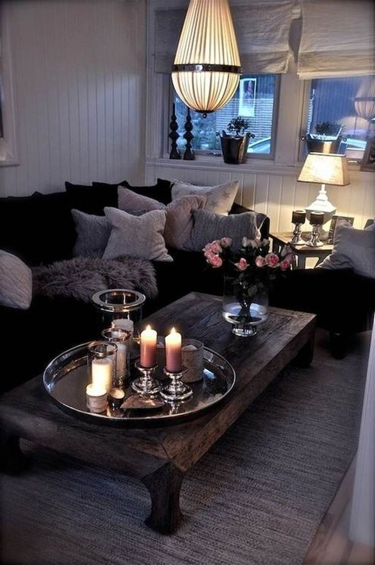 It's small but super cozy. I need lots more pillows and blankets on my couch. Plus I love the chunky coffee table. It adds to the cozy ness off the room.: