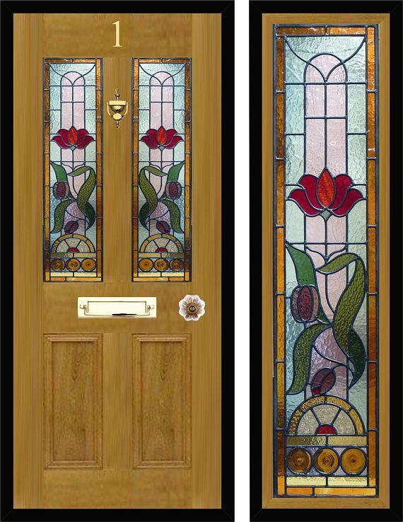 Custom Made Victorian Style Stained Glass Door Panels Etsy Stained Glass Door Stained Glass Glass Door