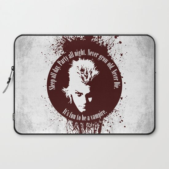 Lost Boys Laptop Sleeve by Fimbis       vampires, blood, halloween, movies, 80s, lost boys, horror, vamp, movie tagline, never die, its fun to be a vampire, macbook pro, Lenovo, Microsoft Surface,