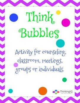 Thinking Bubbles- group counseling activity.  Packets includes 10 different type of sharing bubbles. $