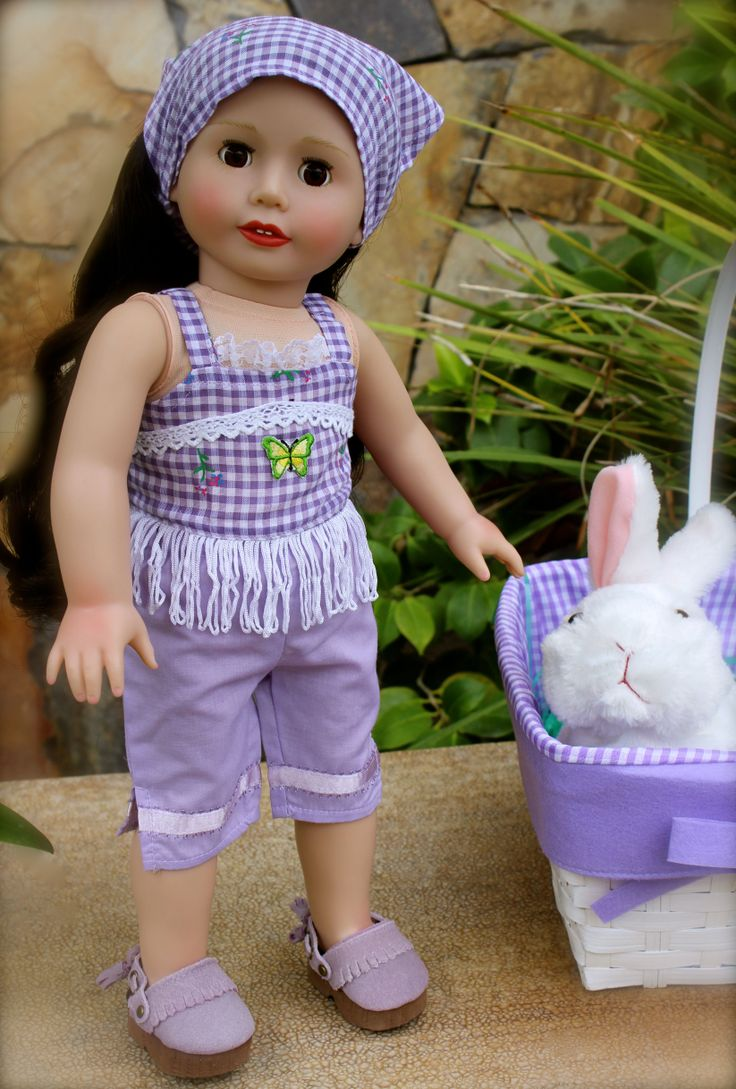 """18"""" Doll, Melody Rose, in a country lavender outfit for 18"""" dolls and American Girl. Visit our store at www.harmonyclubdolls.com"""