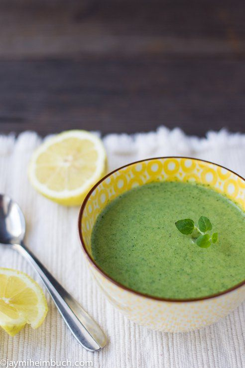[ Recipe: Savory Cream of Spinach Soup ] Made with: vegetable stock, spinach, lemon, half  and half (or cream), salt and pepper. ~ from TreeHugger.com