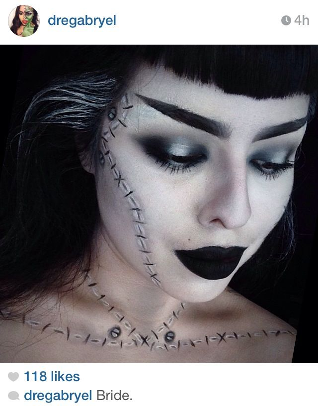 Amazing bride of Frankenstein makeup.