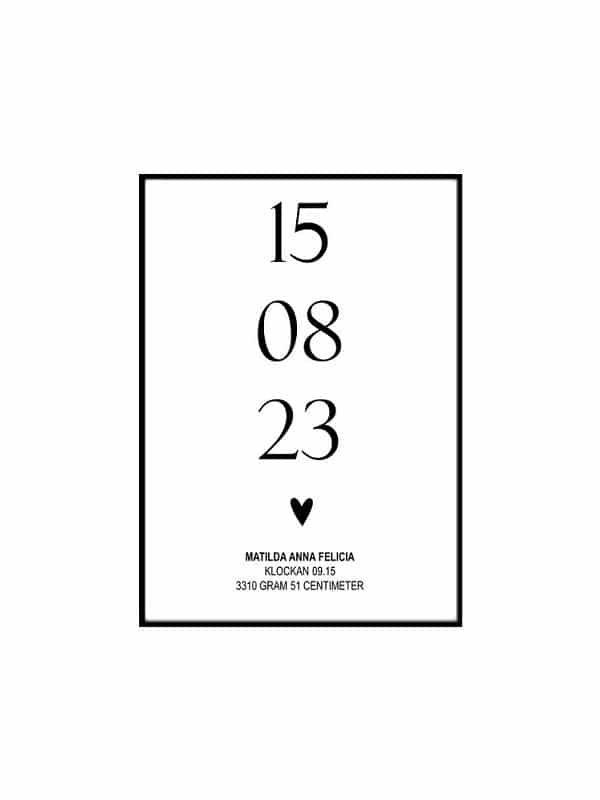 Poster - Datum med namn för barnrummet för din tavla