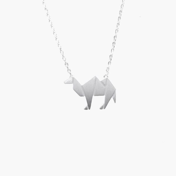 Camel Silver Origami Necklace