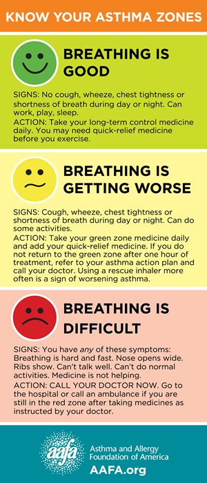 know your asthma zones