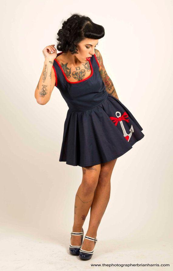Nautical Rockabilly Dress Retro Sailor Dress with by Dollydripp, £80.00