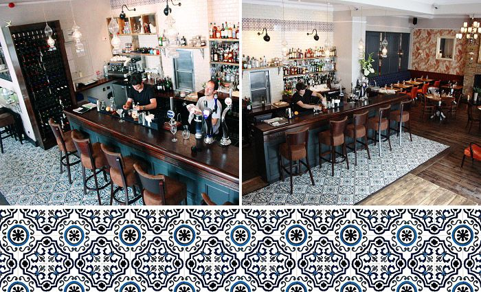 blue cement tiles bar mosaicdelsur cementtiles cement tiles in bars and restaurants. Black Bedroom Furniture Sets. Home Design Ideas