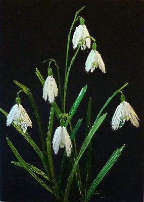 """Silk Hand Embroidery """"Snowdrops"""" - love these flowers and how lifelike they look when embroidered so beautifully."""