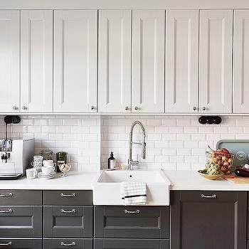 White Upper Cabinets Dark Lower Cabinets, Transitional, kitchen, Stadshem custom panel dishwasher