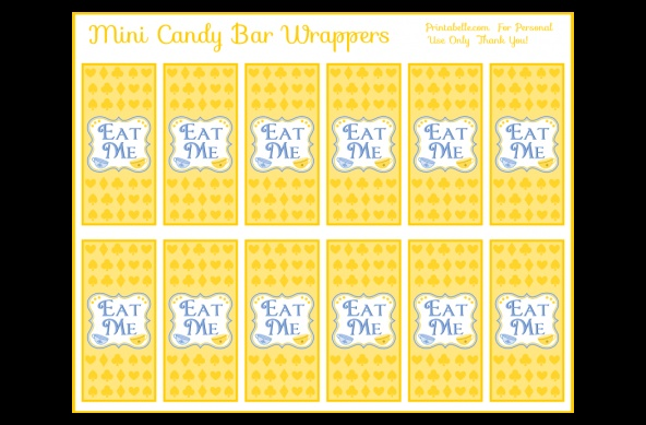 A set of free printable wonderland themed downloads. This one is the mini candy bar wrapper