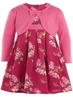 Pink floral baby girls dress