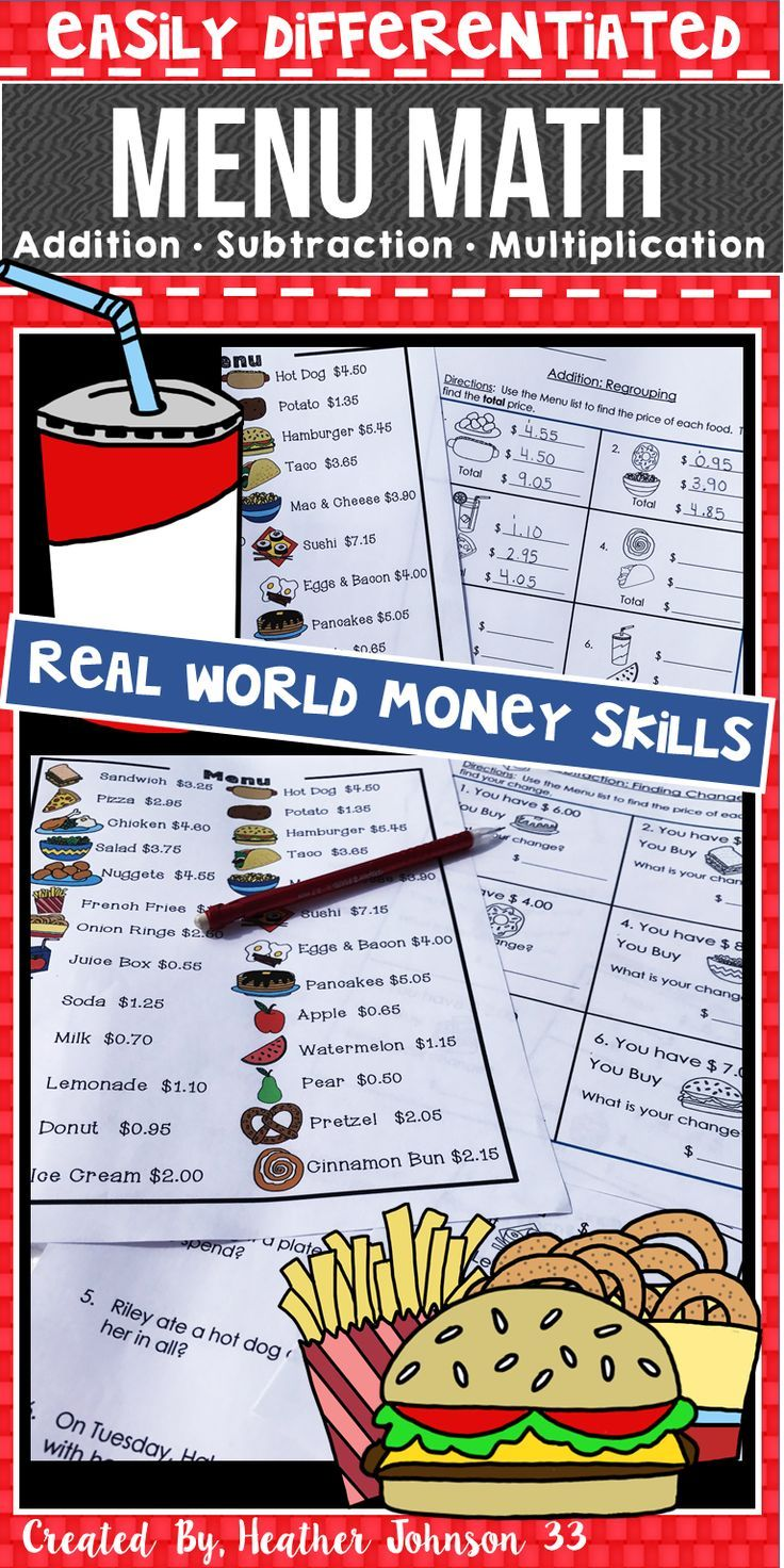 Money Practice: Real World Practice: Addition, Subtraction, Multiplication, Problems Solving Easily Differentiated