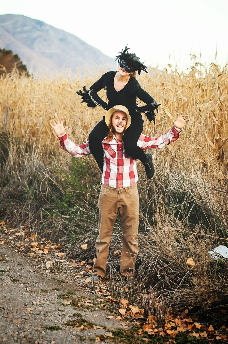 Couples Halloween costume, scarecrow and the crow!