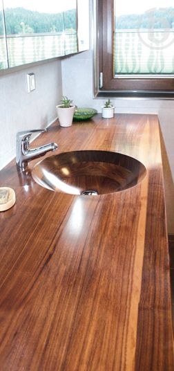 Wooden Vessel Sink Countertop Vancouver BC Canada That sink is gorgeous but I feel like it would be hard to clean