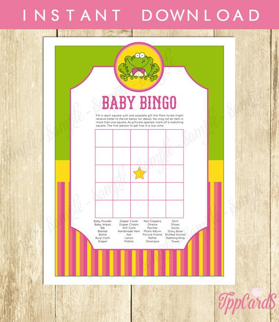 Instant Download Frog Baby Shower Bingo Cards Printable Baby Bingo for Girl Pink Green Yellow Frog Theme Baby Shower Game by TppCardS #tppcards