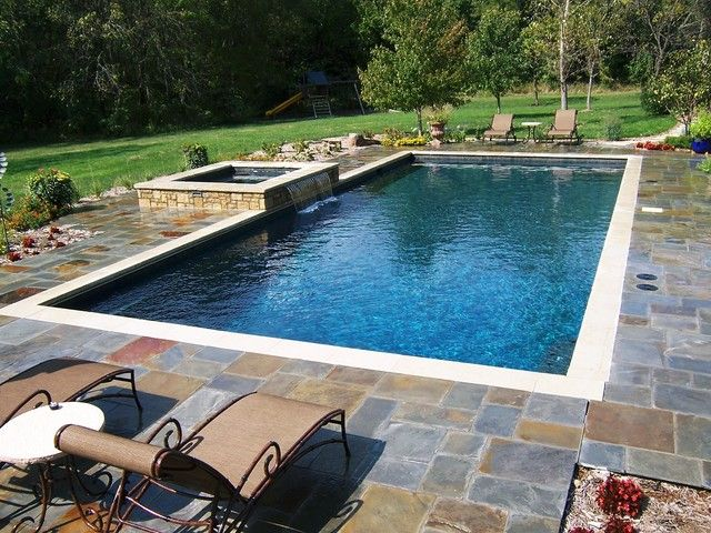 Rectangular pool with hot tub gallery for rectangle for Pool design ideas
