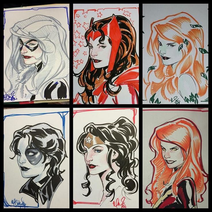 Lots of head sketches done at Paris Comics Expo this past weekend(over 40). Here's a selection of some of my favorites. #Marvel #dccomics #wonderwoman #Phoenix #BlackCat #PoisonIvy #scarletwitch #Domino #MarkBrooks #PCE by markbrooksart