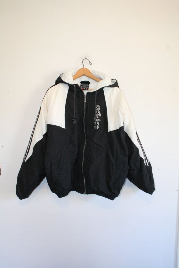 ADIDAS COAT // size medium // 90s // puffy jacket // black & white // hood // health goth // trefoil // athletic // vaporwave // vintage