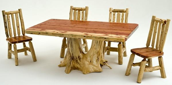Log furniture red cedar log dining table with root base for Log cabin furniture canada