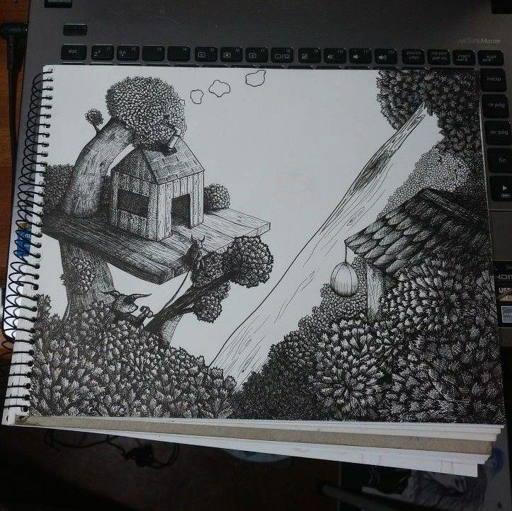 Me falta mucho aún, menos que al principio y más que al final 😪  #topopanda #illustration #ilustración #ilustracion #tinta #ink