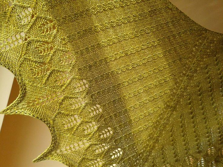 """His Golden Lair"" -pattern by Kourtney Robinson. Yarn-Malabrigo Finito. I love this shawl!"