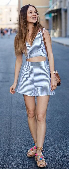 Discover Spring Dresses in the Latest Styles at Vee - V Neck Blue Stripe Crop Top with Shorts
