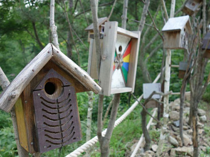 산책로 주변에 전시된 새집 작가 이배우님의 작품들