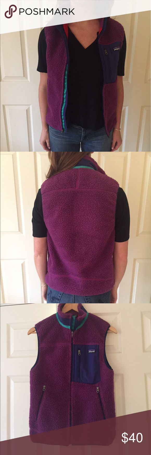 Patagonia vest X-small men's fleece Patagonia vest in purple with teal and navy blue accents. Super comfortable, light wear. Unisex. Patagonia Jackets & Coats Vests