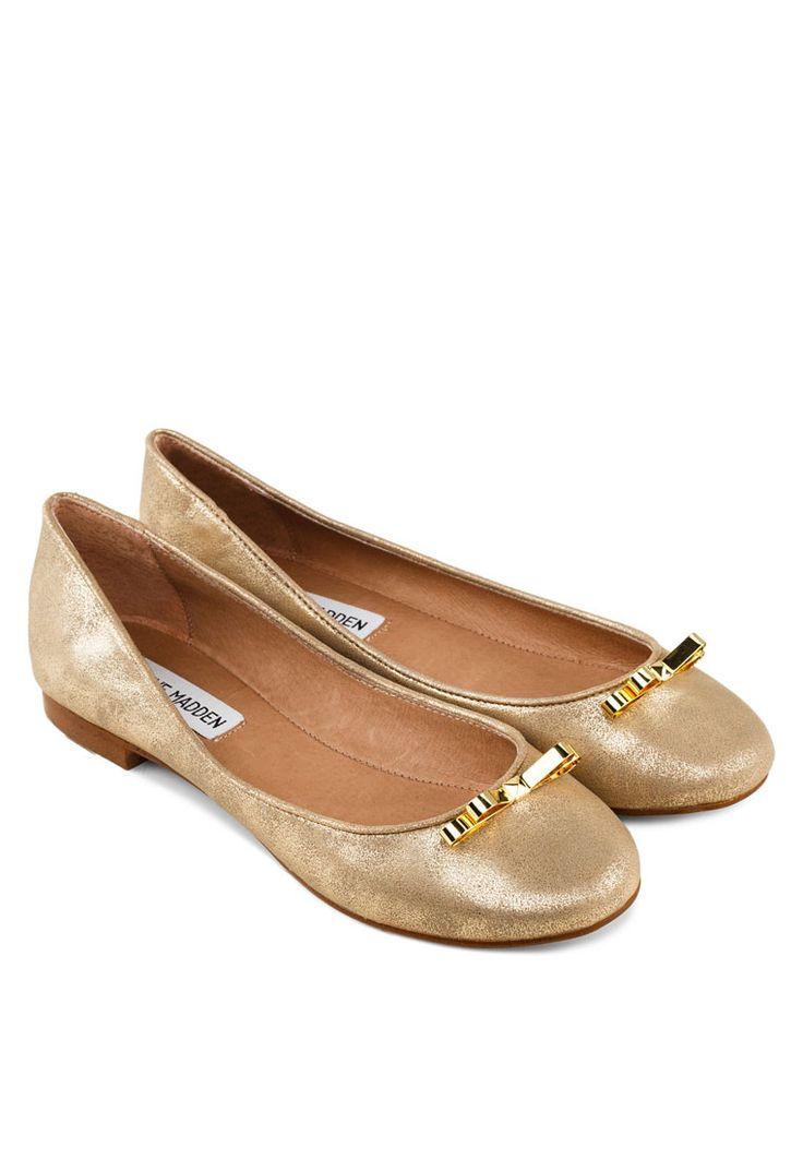 STEVE MADDEN DEBUTE Ballerinas With Gold Bow DEBUTE蝴蝶結平底鞋