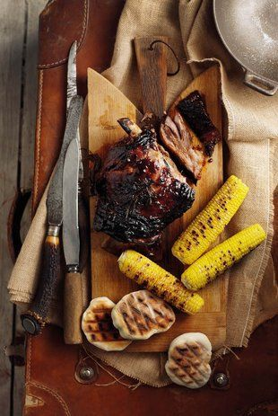 Lamsblad met sticky sous, Maklike roosterkoek, Gebraaide mielies | Weekend meal | Lamb with sticky sauce, Easy roosterkoek, Corn on the cob