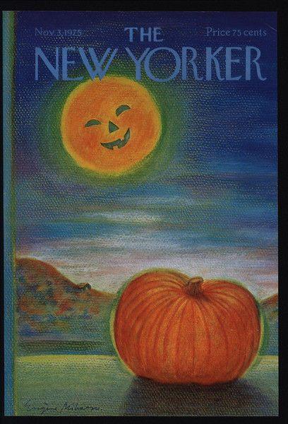 1975 Vintage NEW YORKER Magazine COVER ONLY - Halloween Pumpkin Moon Art