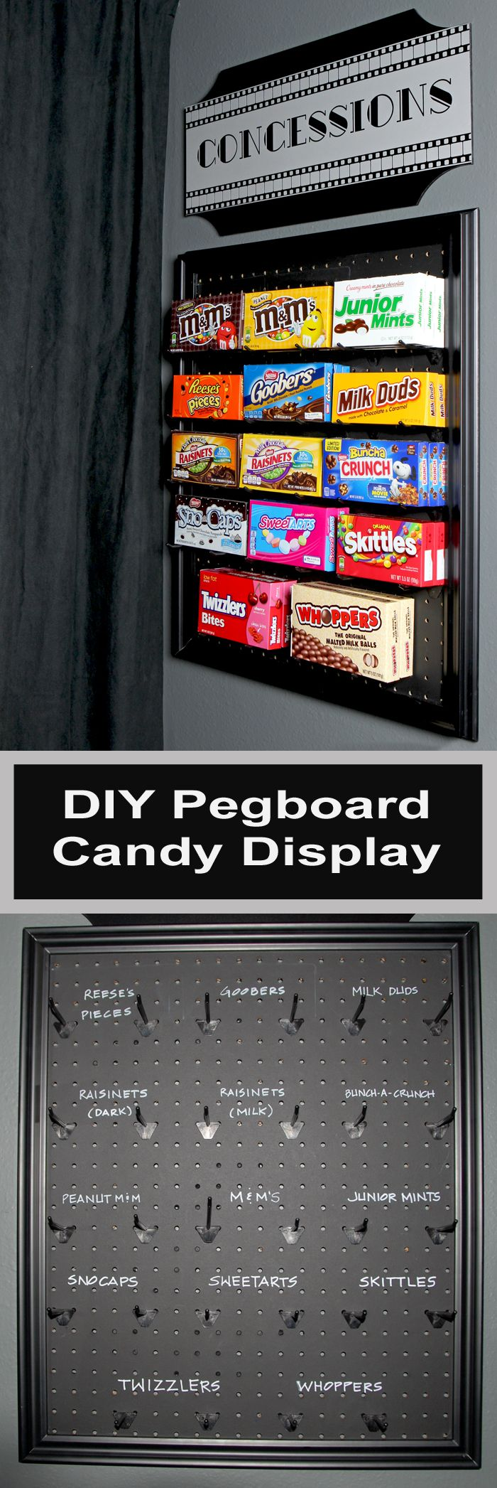 An easy DIY project using pegboard and chalkboard paint to make a fun display for candy in a media room or game room.  It could also be used on an eas…