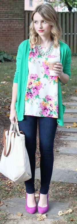 Outfit Posts: outfit post: floral blouse, green cardigan, bootcut jeans, black ballet flats