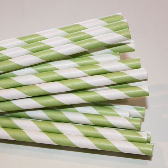 Paper Straws  25 Green Striped Paper Straws with by ThePartyFairy, $4.50
