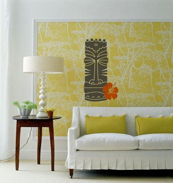 Vintage Tiki Wall decals...love the print behind it...DIY?