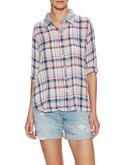 Crinkle Tennis Plaid Shirt