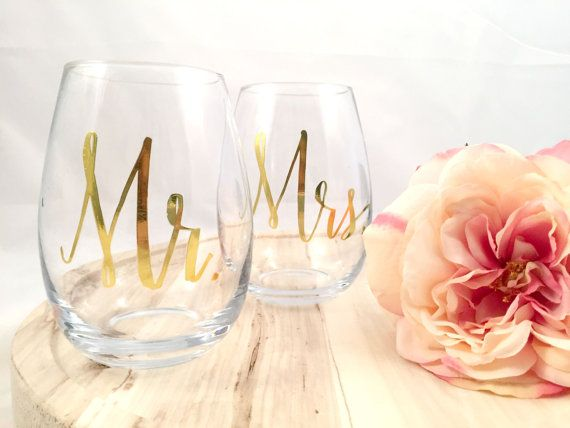 These 18 oz stemless wine glasses are the perfect drink ware addition for any couple. They come with a beautiful gold foil printed Mr. and Mrs. on the front. Ships fast for those last minute wedding gifts.