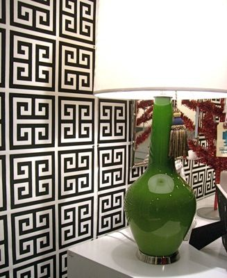 Jonathan Adler -Greek Key wallpaper Chinoiserie Chic #zincdoor #greekkey #trend