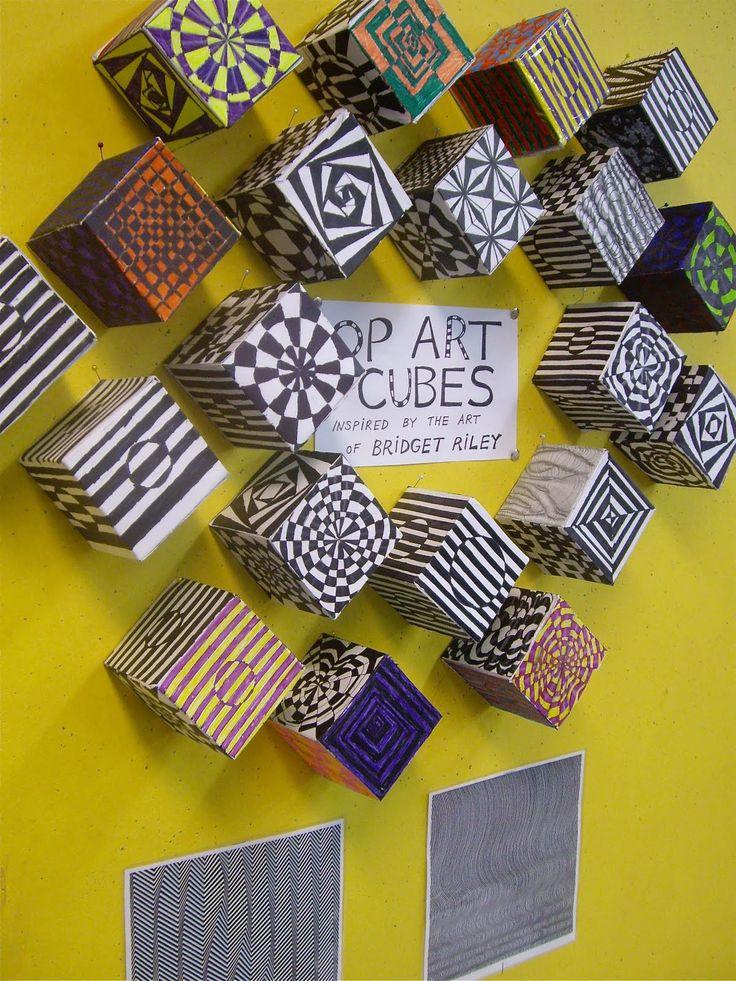 Cool twist for an Op-Art project!Middle Schools, Pop Art, Art Lessons, Opart, Art Class, Art Ideas, Colours Pencil, Art Projects, Art Cubes