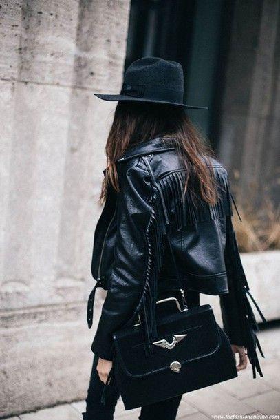 Jacket: boho black leather fringed bag black bag pants black pants felt hat hat black hat all black
