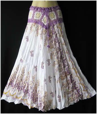 Boho Gypsy White Long Skirt Crochet Vintage casual peasant