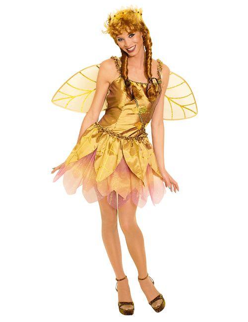Zauberhafte Waldfee Damenkostüm Elfe gold